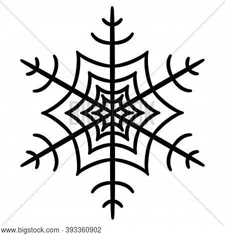Snowflake. Black Outline On A White Background. Christmas Ornament. Xmas, Winter Symbol. Flat Icon.