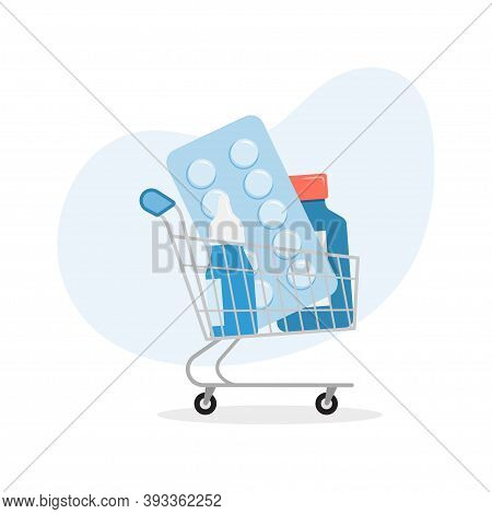 Shopping Trolley With Pills And Medicine. Pharmacy Purchases. Online Pharmacy. Vector Illustration