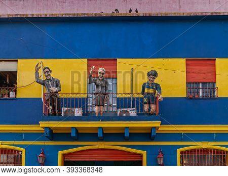 Buenos Aires, Argentina- December 19, 2008: La Boca Neighborhood. 3 Life-size Human Dolls On Balcony