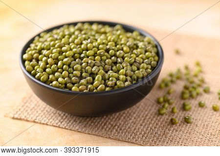 Mung Bean In A Bowl On Wooden Background