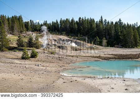 Geysers And Hot Springs Along The Porcelain Basin Trail In Norris Geyser Basin At Yellowstone Nation
