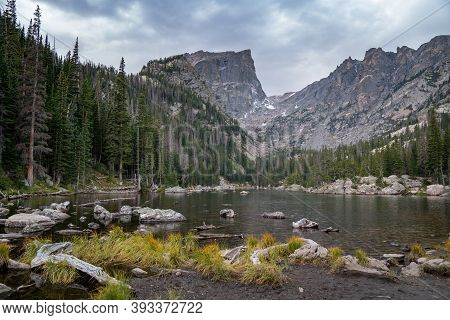 Dream Lake In Rocky Mountain National Park In Colorado On An Overcast Autumn Day