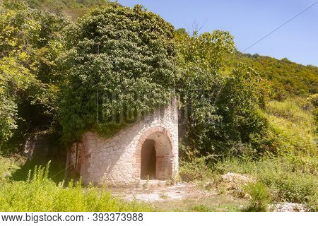 The Old Loophole Fortress Of The Big Cobblestones In The Green Thickets, Used As A Background