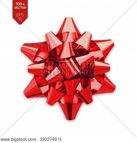 Bow. Red Realistic Gift Bow Isolated On White Background. Vector Illustration.