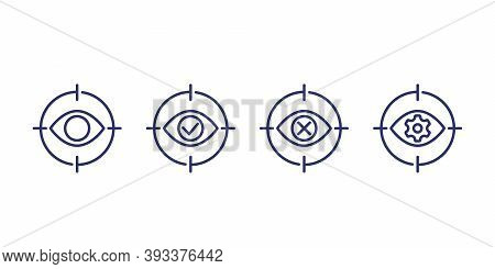 Retina Scanning, Biometric Scan Line Icons, Eps 10 File, Easy To Edit