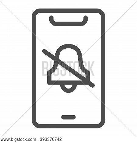Silent Mode On Smartphone Line Icon, Smartphone Review Concept, No Bell On Mobile Sign On White Back