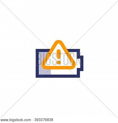 Battery Warning Vector Icon On White, Eps 10 File, Easy To Edit