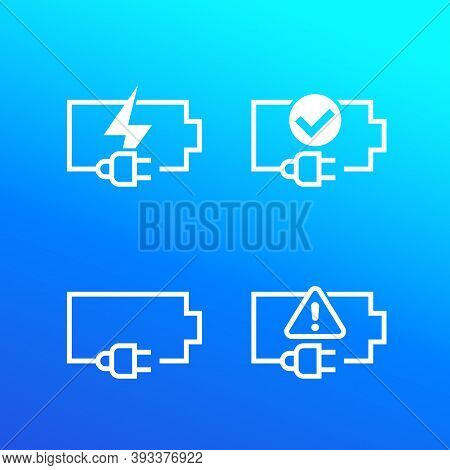 Battery And Electric Plug Vector Icons, Eps 10 File, Easy To Edit