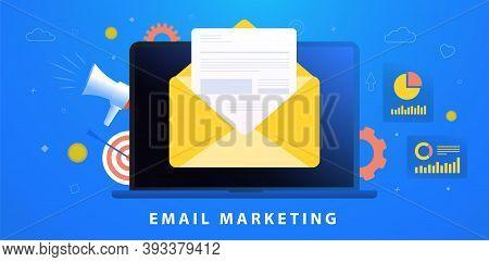 Email Marketing Campaign Concept. Digital Inbound Advertising (useful Newsletter, Interesting Promot