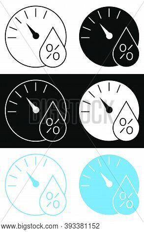 Hygrometer Icon, Wall Mounted Controller For Indoor Air Humidity. Comfortable Air Humidity In Apartm