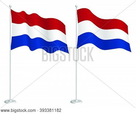 Flag Of Holland, Netherlands On Flagpole Waving In Wind. Holiday Design Element. Checkpoint For Map