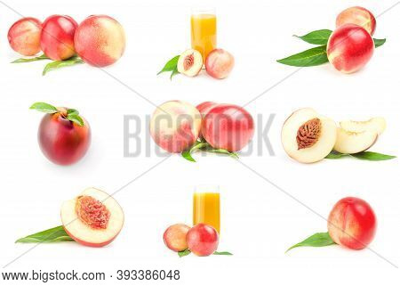 Collage Of Fresh Peaches Fruits Isolated On A White Background Cutout