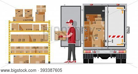 Warehouse Shelves With Goods, Delivery Truck, Mover, Container Package Boxes. Pile Cardboard Boxes S