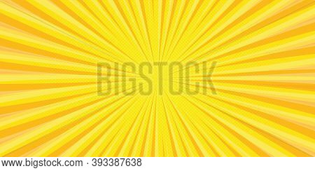 Yellow Background Of The Style Pop Art Superhero. Pop Art Yellow Or Comic Superhero Text, Speech Bub