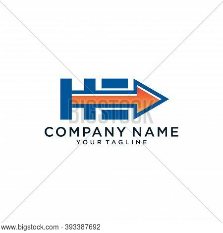 H And E Logo With Arrow, Vector Illustration