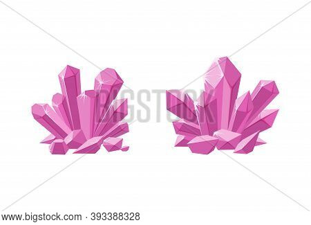 Pink Crystals Or Prescious Gemstones. Shimmering Crystal Jewel With Magic Sparkles Isolated In White