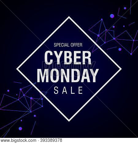 Cyber Monday Sale Modern Futuristic Banner. Online Shopping And Marketing Concept.