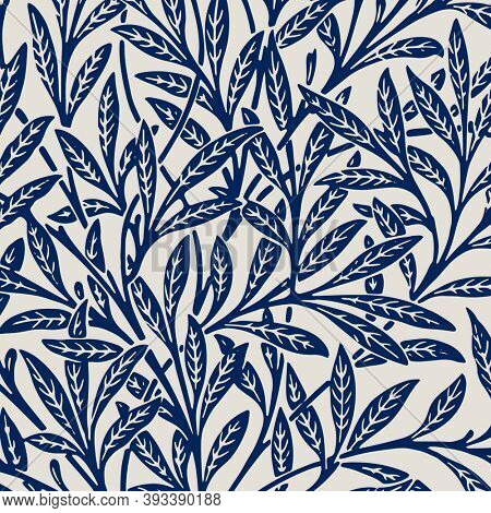 Leaves ornament blue pattern background