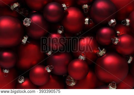 Christmas Decorations, Top View Of Pile Of Glass Balls Colored In Red, Useful As A Greeting Gift Car