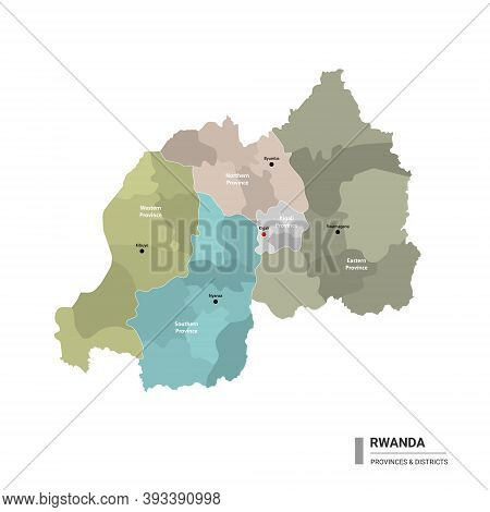 Rwanda Higt Detailed Map With Subdivisions. Administrative Map Of Rwanda With Districts And Cities N