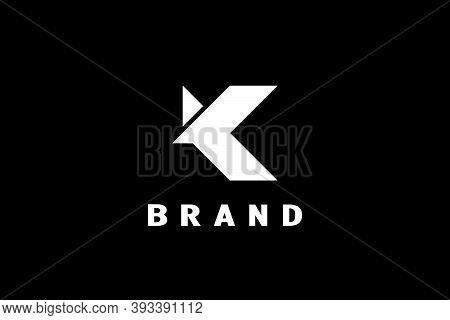 Letter K Flying Bird Logo, Simple And Minimalist K Shape Flying Bird Design Concept, Modern And Eleg