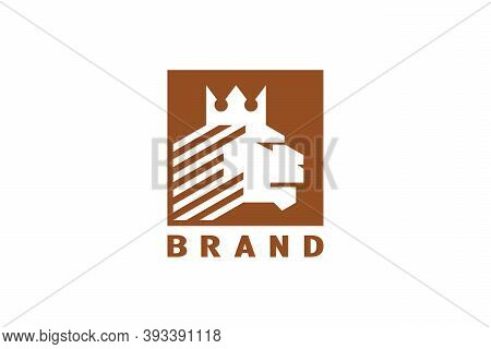 Lion King Logo, Lion Head Wearing Crown With Negative Space Design Concept, Vintage Style And Elegan