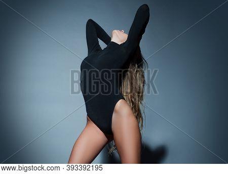 Bondage And Bdsm Concept. Portrait Of Beautiful Seductive Woman. Girl Dance In Night Club