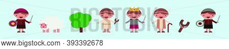 Set Of David Goliath Old Testament Bible Tale. Modern Cartoon Icon Design Template With Various Mode