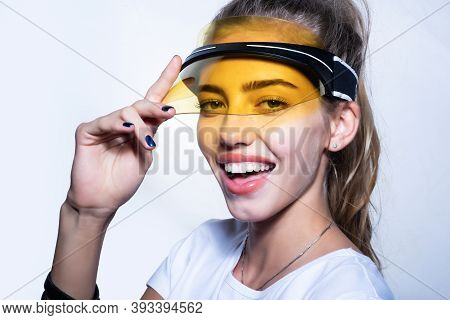 Happy Summer Girl Face With Sun Visor. Fashion Portrait Of Sexy Young Woman Close Up. Vogue Style Po