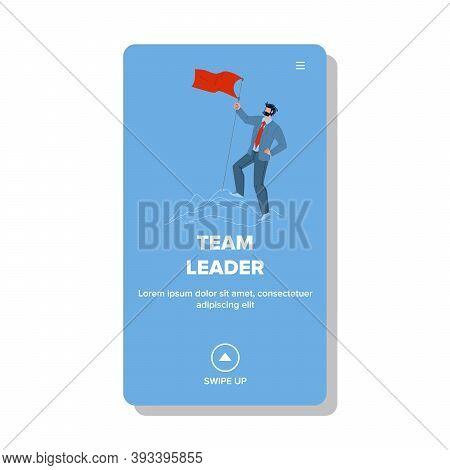 Team Leader Businessman Conquering Peak Vector Illustration