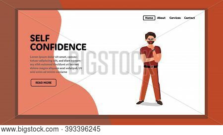 Self Confidence Bearded Stylish Businessman Vector Illustration