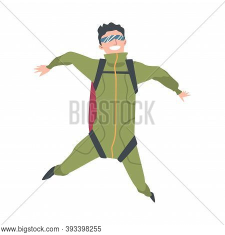 Smiling Man Skydiver Enjoying Freefall Freedom, Person Jumping With Parachute In Sky, Skydiving Extr