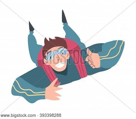 Happy Man Skydiver Enjoying Freefall, Person Jumping With Parachute In Sky, Skydiving Extreme Sport