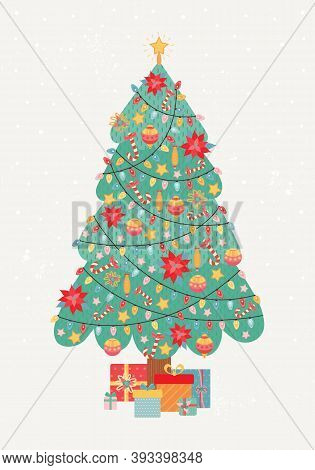 Merry Christmas And Happy New Year Vintage Greeting Card. Christmas Tree Is Richly Decorated With Ga