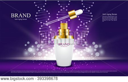 Anti Aging Serum Bottle With Abstract Background And Lighting For Ads Cosmetic Product Illustration