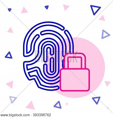 Line Fingerprint With Lock Icon Isolated On White Background. Id App Icon. Identification Sign. Touc