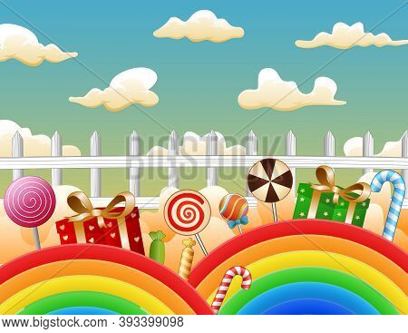 Illustration Of Candies And Gifts On A Rainbow