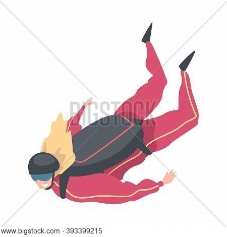 Skydiver Doing Base Jump With Parachute In Sky, Freefall, Skydiving, Parachuting Extreme Sport Carto