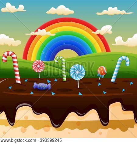 Scene With Candy Land And Rainbow On A Background Of Meadows