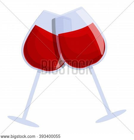 Wine Cheers Icon. Cartoon Of Wine Cheers Vector Icon For Web Design Isolated On White Background