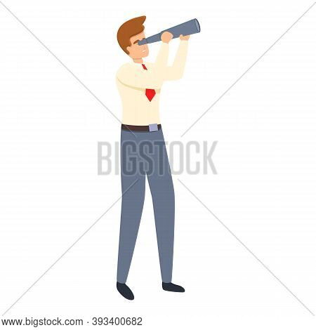 Successful Businessman Spyglass Icon. Cartoon Of Successful Businessman Spyglass Vector Icon For Web