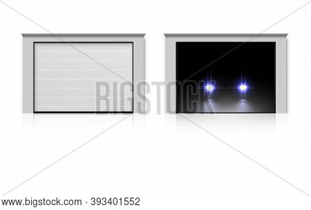 Modern Garage House Door Set. Realistic Entrance Gate To Room, Home, Parking Space. Closed, Opening,