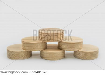 Pile Of Circle Wooden Cutouts For Conceptual Sign