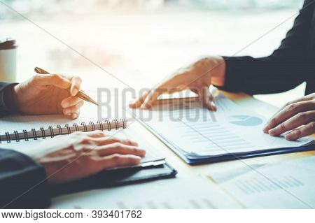 Business. Business Concept With Business People. Desktop Computer, Making Business Plan, Business In
