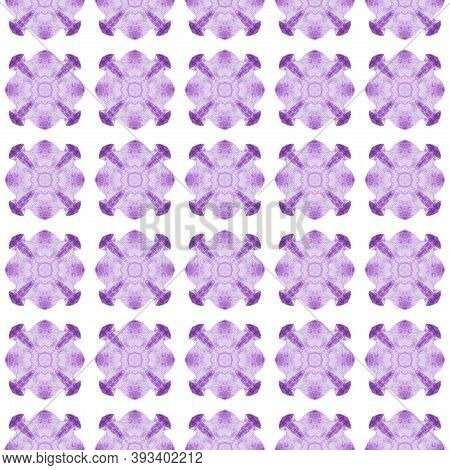 Textile Ready Breathtaking Print, Swimwear Fabric, Wallpaper, Wrapping.  Purple Fetching Boho Chic S