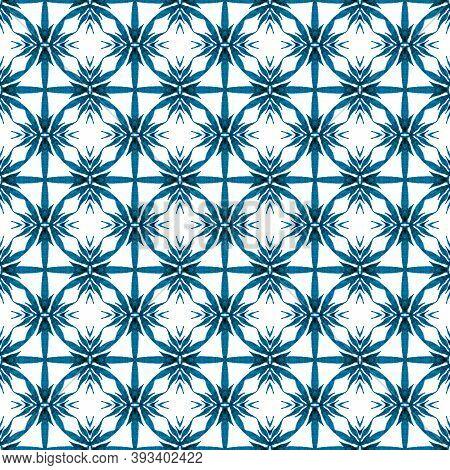 Watercolor Ikat Repeating Tile Border. Blue Elegant Boho Chic Summer Design. Ikat Repeating  Swimwea