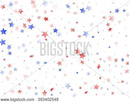 American Patriot Day Stars Background. Holiday Confetti In Us Flag Colors For President Day.  Poster