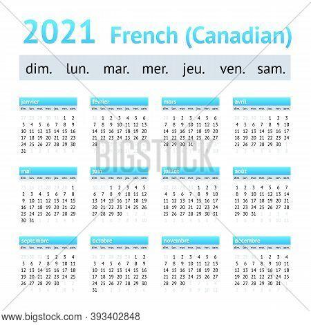 2021 French American Calendar. Weeks Start On Sunday