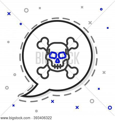 Line Skull On Crossbones Icon Isolated On White Background. Happy Halloween Party. Colorful Outline