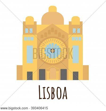 Flat Style Cathedral, Symbol Of Lisboa. Landmark Icon For Travelers. Vector Illustration Isolated On